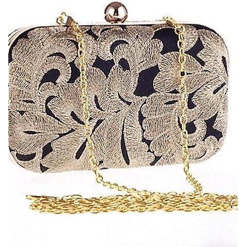 Da Wu Jia Ladies borsetta di alta qualità di lusso donne poliestere frizione Casual , nero