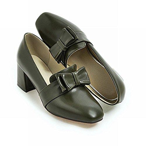 MissSaSa Femmes Chaussures Talons Bloc Escarpins Bout Ronde Décoration Par Des Noeuds Papillons Vert