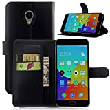 Tasche für Meizu M2 Note (5.5zoll) Hülle, Ycloud PU Ledertasche Flip Cover Wallet Case Handyhülle mit Stand Function Credit Card Slots Bookstyle Purse Design schwarz