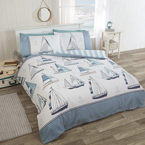Sail Away nautischen Meer Boote Doppel Bettbezug Bettwäsche Set