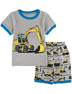 Mombebe Infantil Pijamas Niño Excavadora Manga Corta Pyjamas Set