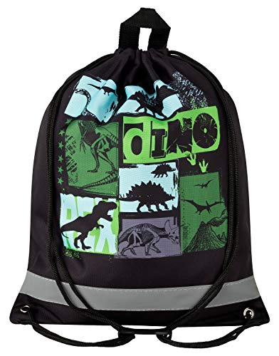 Aminata Kids - Kinder-Turnbeutel für Junge-n und Mädchen mit Jurassic T-Rex Urzeit-Tier Vulkan Dino-saurier Sport-Tasche-n Gym-Bag Sport-Beutel-Tasche schwarz-e…