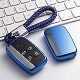 ZHAO Trousseau de clés de Voiture for Land Rover A9 Range Rover Sport Evoque Freelander 2, for Jaguar XE Guitare Souple TPU Key Cover Case (Color : A-Blue Keychain)