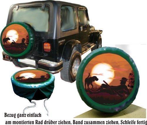 Bezug Reserverad Abdeckung Wildmotiv Jäger mit Hund für Jagd - Fans für Ihren Jeep (Jeep Reserverad Abdeckung Jagd)