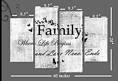 Family Quote Canvas Picture White Grey Black 4 Panel 100cm Wall Art ready to hang template included for easy hanging - inexpensive UK canvas shop.
