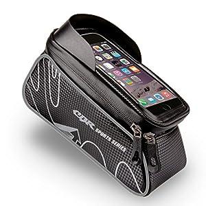 Bolsa de Bicicleta, Vanwalk Bolso Alforja Ciclismo Delandero del Tubo Impermeable con Funda Transparente Pantalla Táctil y Cubierta de Lluvia para iPhone 7 6s 6 plus 5s 5 / Samsung Galaxy s7 s6 note 7, Cellphone de 6.0 inch - Negro
