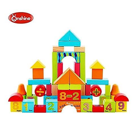 Onshine 50 Pièces Colorés Cubes Nombre Blocs Set de construction en Bois Jouets Puzzle éducatifs pour Bébé Fille Garçon Enfants