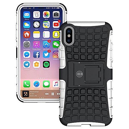 Leder-wasserdichte Jersey (iPhone X Fall, iPhone X Fall durch Kabel und Case-[Heavy Duty] Tough Dual Layer 2in 1robusten Gummi Hybrid Hart/Weich Impact Schutzhülle [mit Ständer] Versand aus Den USA, Weiß)