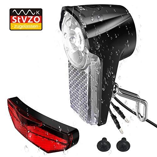ZAMAT Dynamo LED Fahrradlicht Set, Fahrrad Scheinwerfer Und 220° Sicherer Rücklichter Mit StVZO Zugelassen, [IPX-5] Wasserdicht Frontlicht Und Rücklicht Mit Schalter - beleuchten Sie Ihre Tour