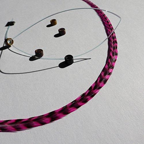 Extension plume naturelle rayée grizzly rose ! Taille au choix L XL XXL , perle et passe mèche offert
