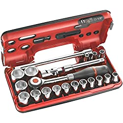 FACOM 1/2 Zoll Werkzeugsortiment mit Umschaltknarre, mit 360° Drehgriff, 6 Kant, 21 Teilig, im Kompakten Kasten, 1 Stück, S.360DBOX1