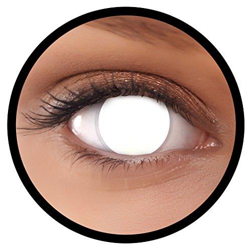 (FXEYEZ® Farbige Kontaktlinsen weiß Blind White + Linsenbehälter, weich, ohne Stärke als 2er Pack - angenehm zu tragen und perfekt zu Halloween, Karneval, Fasching oder Fasnacht)