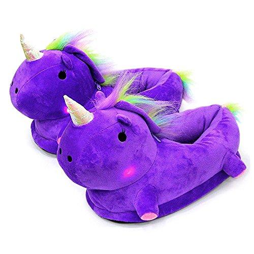 Largeshop LED Einhorn Leuchtende Hausschuhe Erwachsene Kinder Schuhe Unicorn Plüsch Tier Pantoffeln Größe: EU 34-42