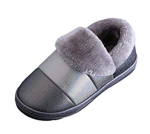 Icegrey Pantofole da Uomo Donne Moda Acquista Lavorato A Maglia Confortevole Peluche Pile Allineate Pantofole Grigio