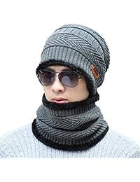 daf07c715744 Supstar Chauffant Bonnet Tricot avec Écharpe de Doublure Polaire, Hiver  Chapeau Beanie pour Homme