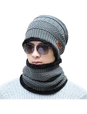 Supstar Berretto Uomo in Maglia per Inverno Caldo Cappello Beanie con Sciarpa