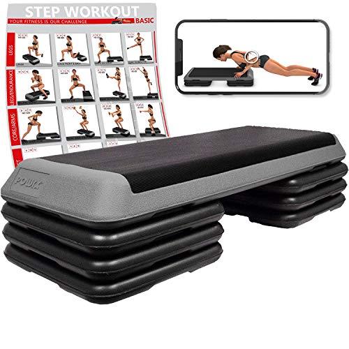 Powrx - step fitness professionale xxl - stepper ideale per esercizi di body pump, aerobica e tonificazione muscolare - altezza regolabile e base antiscivolo + pdf workout