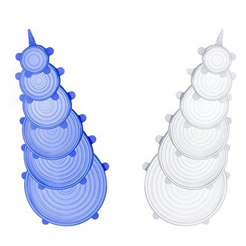 Cikuso Paquete de 12 Tapones de Estiramiento de Silicona, Duradera Cubierta de Ahorro de Alimentos expandible para el intestino para Hornear Recipiente de Plato Contenedor de Alimentos