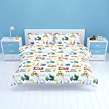 Bloomsbury Mill - Construction Vehicles - Trucks, Diggers & Cranes - Kids Bedding Set - Double Duvet Cover and 2 Pillowcases