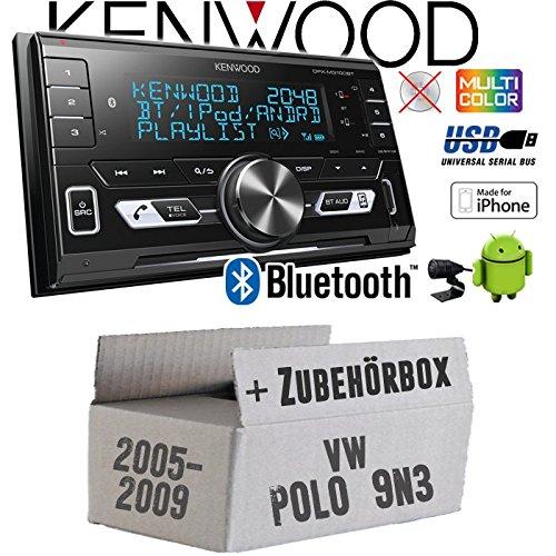 Autoradio Radio Kenwood DPX-M3100BT - 2-DIN Bluetooth USB VarioColor Einbauzubehör - Einbauset für VW Polo 9N3 - JUST SOUND best choice for caraudio