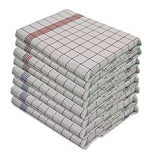 Gluecksshop - Lot de 10 torchons - 100% coton - Lavable à 95° - Supporte des températures élevées - Taille 50 cm x 70 cm Couleur 5 x Bleu 5 x Rouge