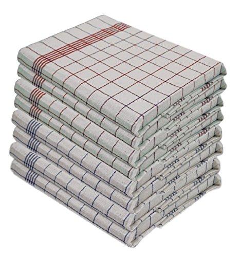 Gastro Line Geschirrtücher 100 Baumwolle 95 Grad Wäsche Kochfest Grösse 50 x 70 cm Farbe 5x Blau und 5x Rot 10 Stück