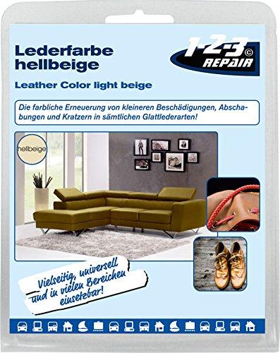 Lederfarbe Kunstleder Farbe BEIGE mit Schwamm Möbel aufbereiten Sofagarnitur 50 ml