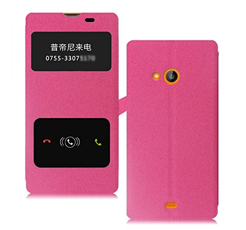 Heartly GoldSand Sparkle Luxury PU Leather Window Flip Stand Back Case Cover For Microsoft Nokia Lumia 535 Dual Sim - Cute Pink