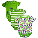 EIO® Mini Berry Short Sleeves Cotton Sleep Suit Romper Set Of 3 For Boys (GREEN, 9-12 Months)
