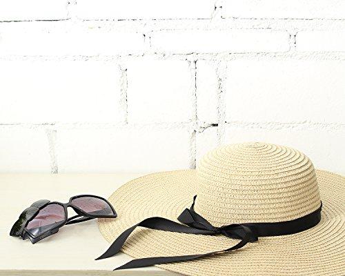 SUNNYME Damen Beachwear Sun Streifen Stroh Cap Wide Brim Floppy Hut Weiß