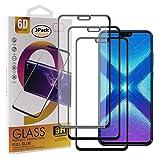 Guran [3 Pezzi Pellicola Vetro Temperato per Honor 8X / Honor View 10 Lite Smartphone Copertura Completa 9H Durezza Anti-Impronte HD Pellicola Protettiva - Nero