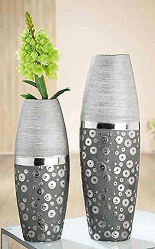 GILDE Keramik Vase Stampino 2 Stück schwarz/Silber L = 10 x B = 16,5 x H = 50 cm