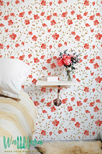 Lujoso Peony patrón de Vintage-Papel pintado extraíble papel pintado-Adhesivo decorativo para pared adhesivo decorativo para pared, diseño de peonía autoadhesivo papel pintado, 20.9 Inches Wide by 48 Inches Tall