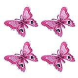 5Stk Flicken Aufbügelbilder Aufnäher Applikation Schmetterling form Stickerei Patch