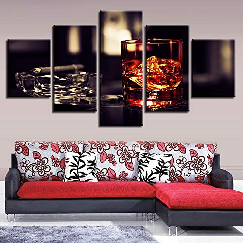 adgkitb canvas Hd Moderne Drucke Bild Für Wohnzimmer Wanddekorkunst Weinglas Rot Dekor 5 Panel Kreative Heimat Korridor Ölgemälde -