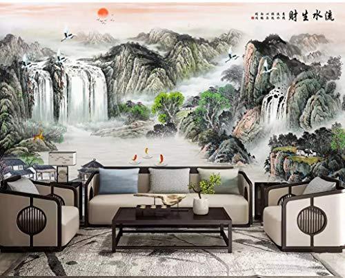 BHXINGMU Wandgemälde 3D Wandgemälde Chinesischer Tinte Landschaft Wasserfall Große Tv-Tapete Wandbild Dekoration 240Cm(H)×330Cm(W)