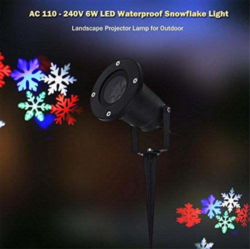 HAPPYMOOD Weihnachten Projektion Lampe Bunt Schneeflocken Wasserdicht Scheinwerfer Fee Schneefall Beamer Lampe LED Beleuchtung Landschaft zur Dekoration