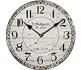 YOAI Wanduhr küchenuhr Vintage Shabby CHIC Antik Nostalgie Rustikale Quarzuhr aus MDF mit lautlosem Uhrwerk,12 Zoll/30CM Ø (Grau)