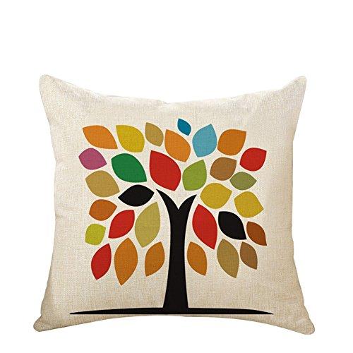 Leisial Lino Algodón Funda de Cojín Moderno Patrón de árbol de la Vida Almohada de Sofá Funda de Almohada Coche Oficina 45 * 45cm(No Núcleo de Almohada)