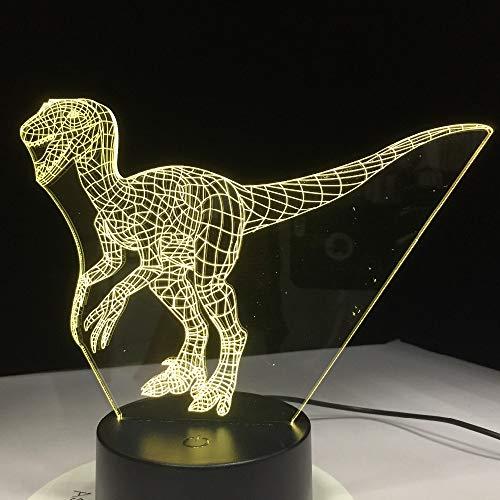 Dinosaurier Licht LED Nacht Licht 7 Bunte Tiger USB Hund LED Lampe Wohnkultur Kinder Geschenke 3DNashorn Lampe Kind Weihnachten Dekoratives Geschenk Tyrannosaurus Rex Eine Größe (Größe Tyrannosaurus Rex)