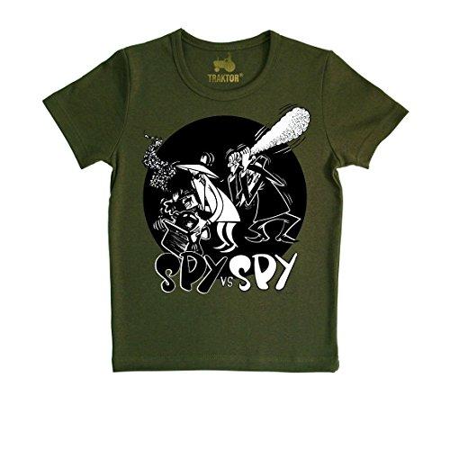 Mad Magazin T-Shirt - oliv grün - Rundhals T-Shirt - Original Marke TRAKTOR®, Größe L (Spy Vs Spy Kostüm)