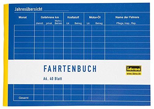 Idena 314250 - Fahrtenbuch, DIN A6 für 390 Fahrten doppelseitig bedruckt, holzfreies Papier, 40 Blatt