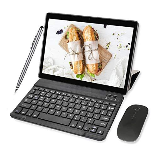 Tablette Tactile 10' HD, 4G/WiFi 64Go ROM 3Go RAM 8000mAh Android 8.1 OTG Dual SIM Call Tablette Tablettes tactil Clavier/Souris -10pcs (Noir)