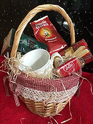 coffee gift set hamper in wicker basket from Cheshire Hampers