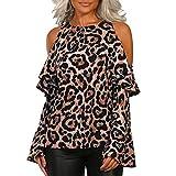 ❤️ Blusa de Mujer Leopardo Fuera del Hombro, Estampado Leopardo Ocasional de Las...