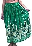 Jolie jupe longue à paillettes pour femmes, style bohémien, indien, hippie, gitan - Parfaite pour la danse du ventre - Dancers World, Green