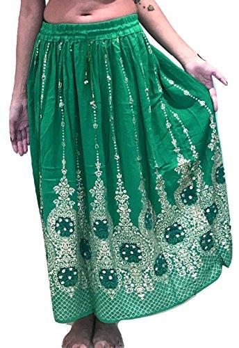 Dancers World Schöner Damenrock, im Boho-Stil, indisch, Hippielook, lang, mit Pailletten, für Bauchtanz geeignet, IC-FR-SKT-43, grün