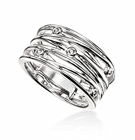 Elements Silver Ladies' CZ Wrapped Wire Style Medium Sterling Silver Ring - Size N