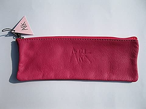 Pencil/Spectacle Case - Soft Leather Pouch by Ark - 22x8cms - Fuschia Pink