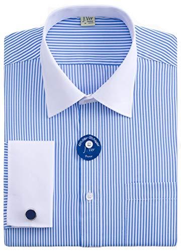 J.VER Herren Französische Manschette Normale Passform Business Hemden Lange Ärmel Manschettenknöpfe aus Metall Geschäft - Farbe:Streifen 02 Blau, Größe:DE 38 - Ärmellänge 84 cm -